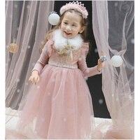 2018 High Quality Girls Winter Dress tulle velvet Girls Princess Dresses kids clothes Girl Casual Children Dress