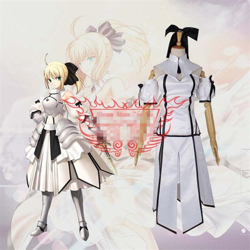 2017 Nova Anime Fate ZERO Sabre Cosplay Costume Fazer Vestido Branco