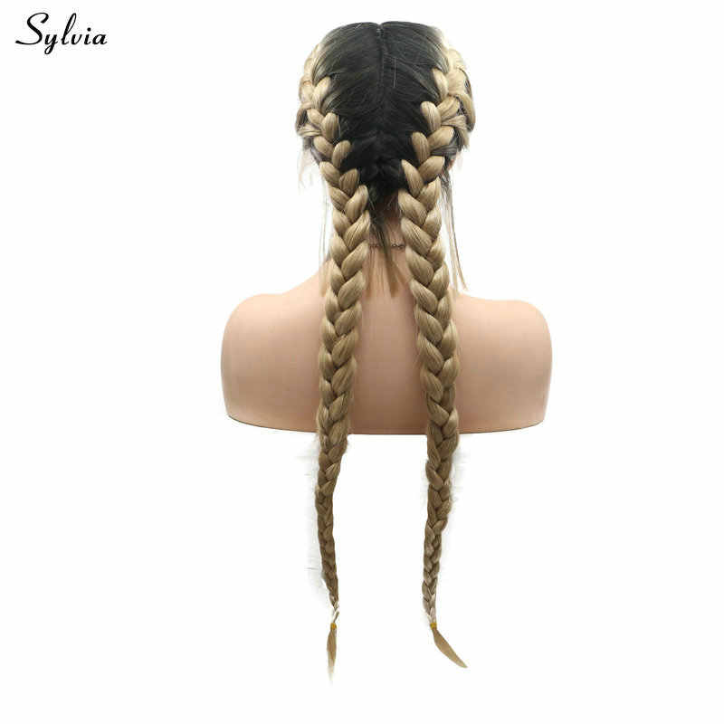 Sylvia Natural All Middle Part Ombre Blonde Handmade 2x Twist Braids Wig Synthetic Lace Front Wigs Double Braided With Baby Hair