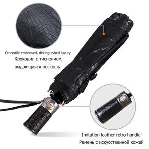 Image 3 - Imitation peau de Crocodile parapluie pluie femmes 3 pliant coupe vent entièrement automatique affaires grand parapluie haute qualité hommes parapluie