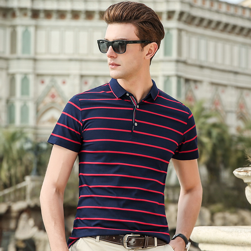 2019 New Fashion Brand Summer   Polo   Shirts Men Top Grade Striped Short Sleeve Slim Fit Mercerized Cotton   Polos   Casual Men Clothes