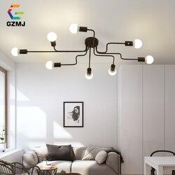GZMJ 4/6/8 głowice rocznika metalowe lampy sufitowe E27 żarówka Retro lampa sufitowa żelazna dla pokoju gościnnego przemysłowe lampa domowa oprawy
