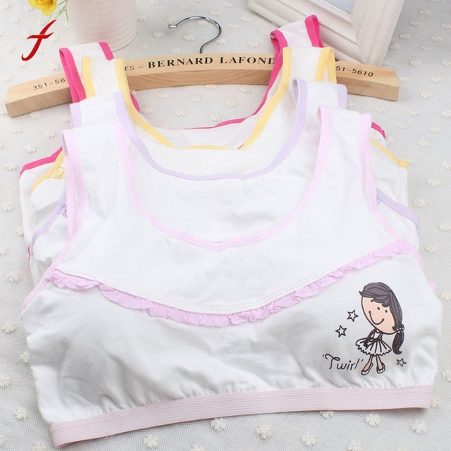 ceaa4fa536f 1PC Teenage Girls Underwear Cotton Bra Intimates For Kids Girl Children  Young Cute Print Small Bra