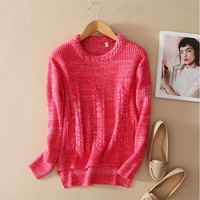 Female Casual 100% Pure Cashmere Sweater Women Pullover Knitted Long Sleeve Round Neck Red Tricot Thick Winter Womens Jumpers