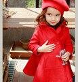 2017 versión Coreana Del invierno de los niños de medio-largo doble de pecho abrigos niñas de lana tipo falda Caliente princesa prendas de vestir exteriores