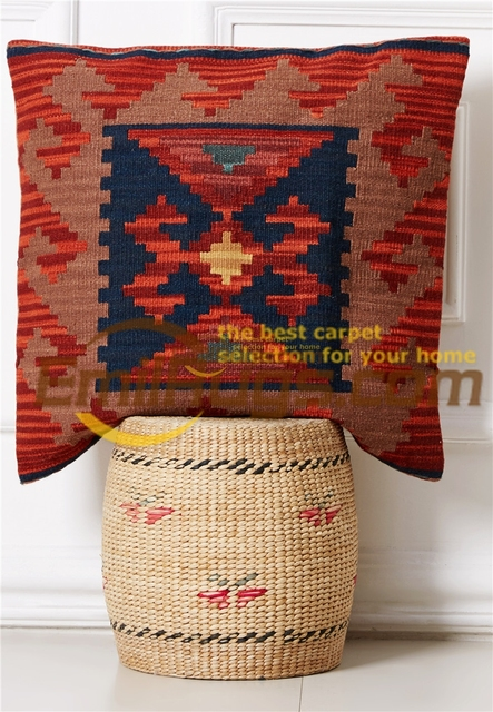 Kilim cushion cover  pastoral style pillow Postu wool hand lines modern in appearance and durability  11-5gc131yg4