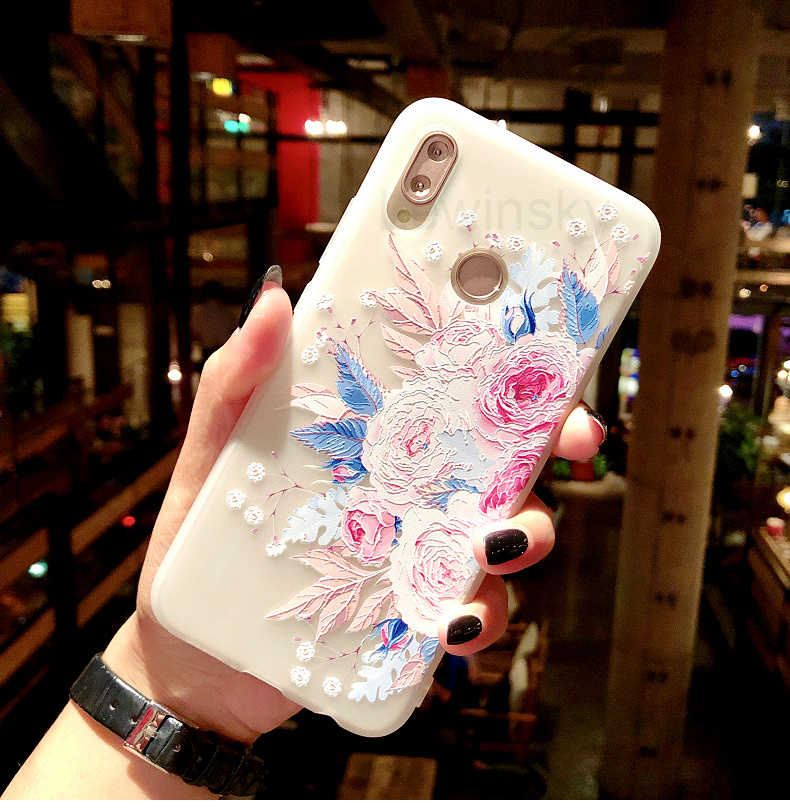 3D Relief Flower TPU Case for On Honor 7C 7A Pro 7X 9 lite 10 Cover Phone Case for Huawei P20 P10 P9 lite P Smart Soft Silicone