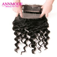 Annmode 360 Brazilian Loose Deep Wave Frontal Pre Plucked Human Hair Closure Natural Hairline 22.5*4*2 Inch Non Remy
