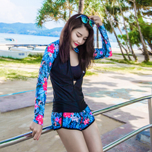 Hisea 5 Style Print Women Two Pieces Swimwear Summer Anti-UV Long Sleeve Zipper Swimsuit Quick Dry for Surfing Swimming