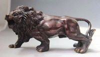 China Folk Bronze Copper Auspicious Carved Animal Foo Dog Lion Statue Sculpture