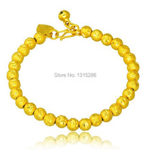 Beads Bracelet Chain Carved Unisex Solid 18k Yellow Gold Plated Watch Chain Alluvial Gold Bracelet Bangle Jewelry Wholesale