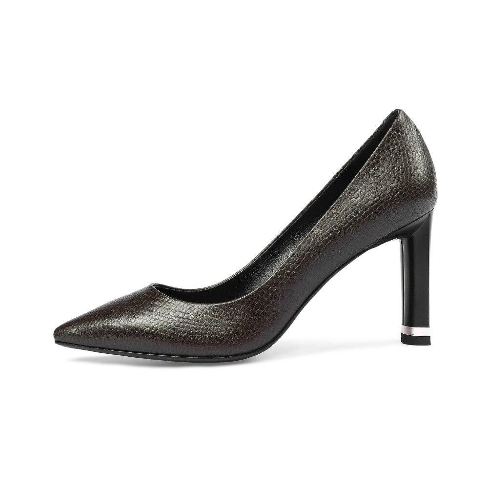 Pour Automne 2018 Robe Pompes Taille Arden Chaussures Printemps Sur Femme Véritable Bureau En Grande Cuir Haute Style Black Slip Talons khaki Nouveau Furtado txxE0qw4