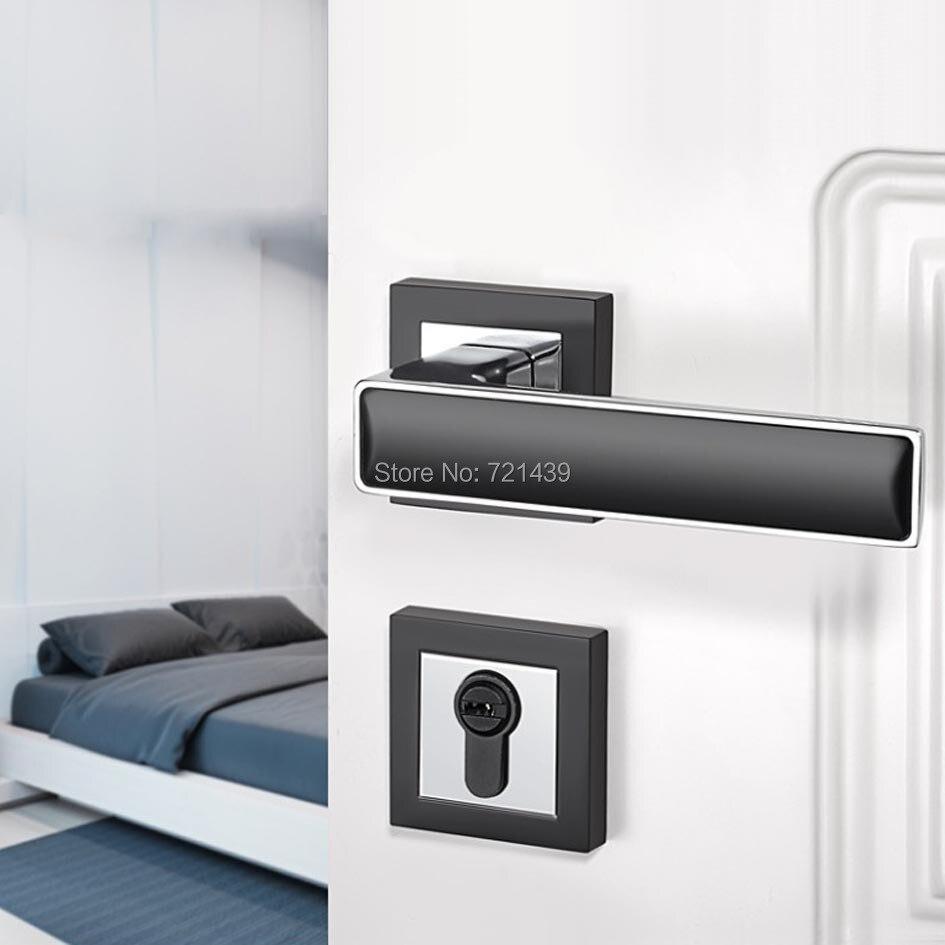 цена на Black Zinc Alloy Door Locks Continental Bedroom Minimalist Interior Door Handle Lock Cylinder Security Locks Packages