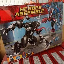 2018 NEW 671pcs Super Heroe Spiderman Mech Venom Mecha Building Blocks Set Toys Compatible Marvel 76115