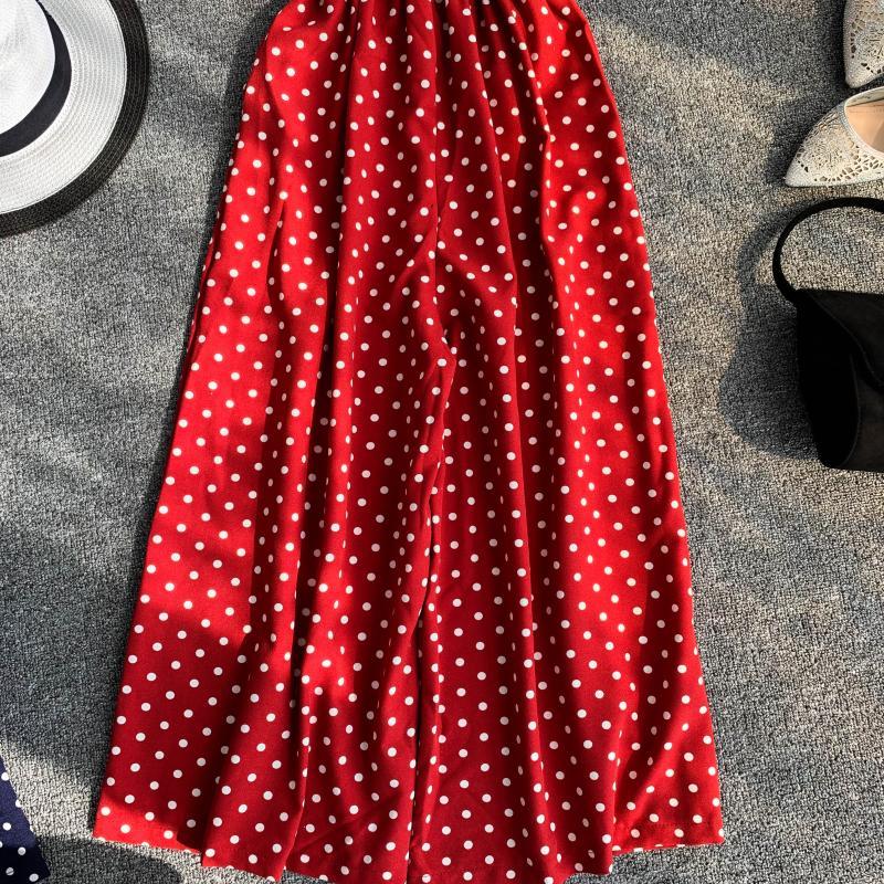 Holiday Retro Dot Print V Collar Sleeveless High Waist Broad-legged Overalls Beach Rompers Womens Jumpsuit E521 11