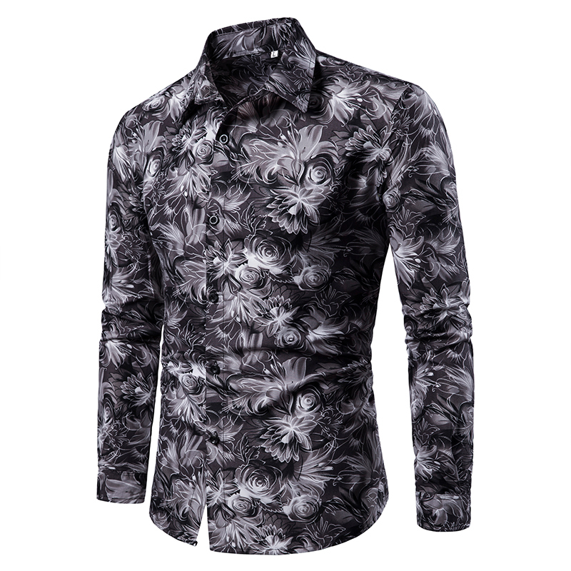 2019 Autumn New Men's Floral Printed Shirt Male Slim Fit Long Sleeve 3D Print Shirt Tops Men Casual Flower Shirt M-4XL