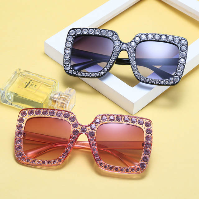 18850508e79 placeholder KeiKeSweet Luxury Brand Designer Italian Big Crystal Sun Glasses  Square Shades Women Oversized Sunglasses Retro Top