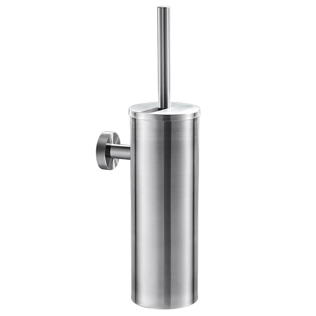 Toilet Brush for Cleaning Black Color with Stainless Steel Wall Mounted Brush Holder Chromed Finish