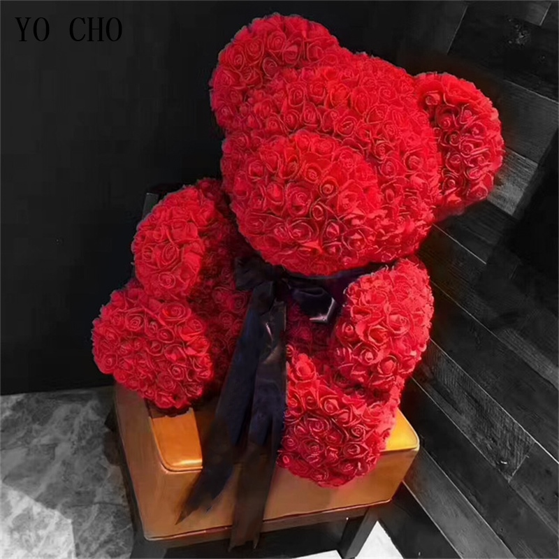 Rose Bear Toys Women Girls Flower Birthday Party Valentine Wedding Romantic Doll Gifts 2019 New Valentines Day Present Soap Bath & Shower