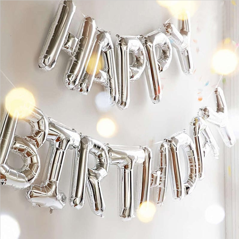 16 inch 13pcs/lot happy birthday balloons letters aluminum balloons with hanging holes lanyard birthday balloon party decoration