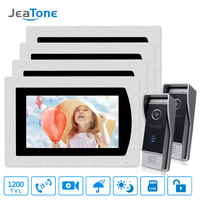 7 Touch Screen Video Door Phone Intercom Speaker Doorbell 4 Wired Waterproof Intercom System Unlocking Motion Detection 2 to 4