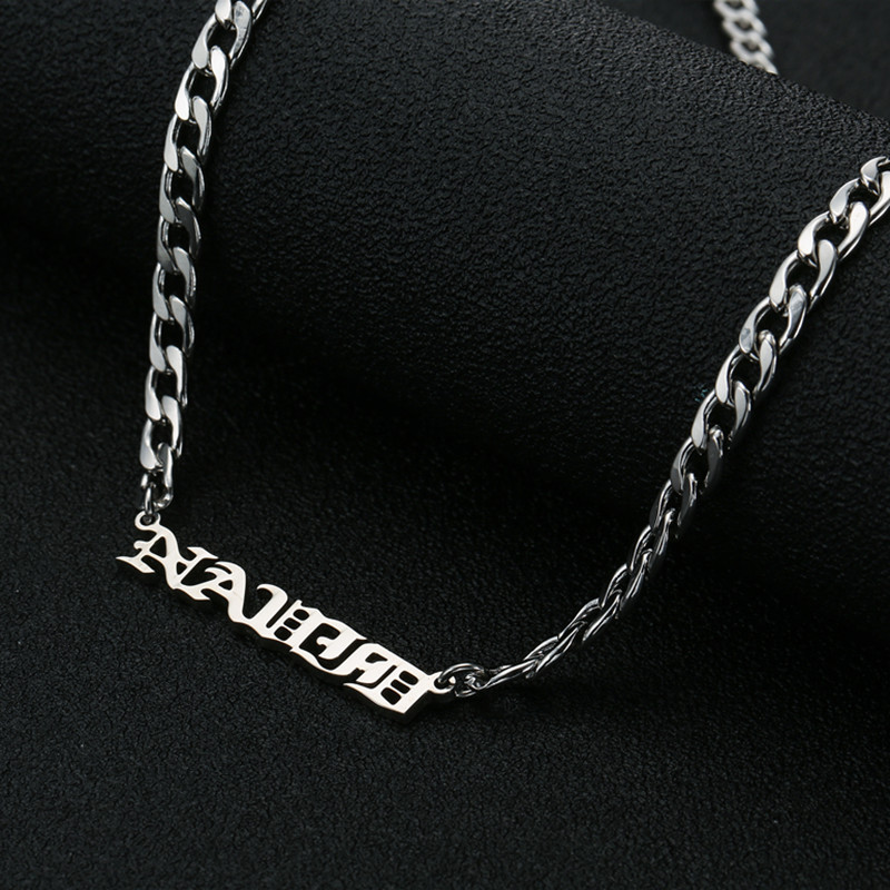 Apl Custom Old English Choker Stainless Steel Personalized Name Plate Necklaces Pendants For Women Jewelry Gift In Pendant From