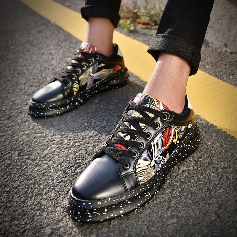 Autumn Korean Casual Shoes Male Fashion Youth Printing Thick Bottom Men  Shoes Zapatos Hombre Breathable Size7 9.5-in Men s Casual Shoes from Shoes a20535a01099