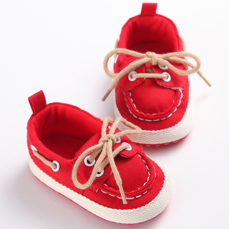 Infant Baby Boys Girls Shoes Canvas Lace Up Loafers Soft Soled First Walker Shoe