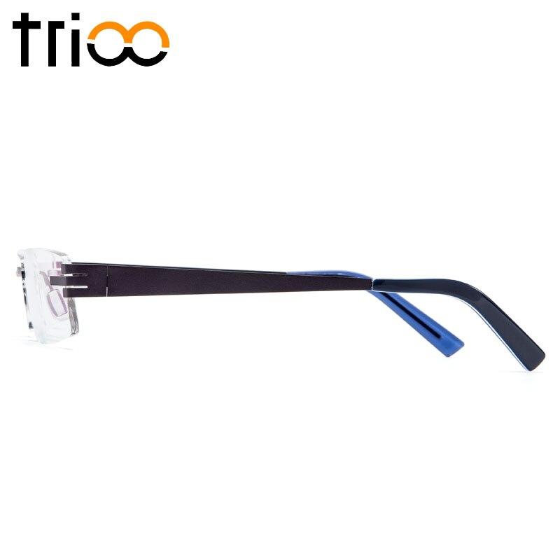 Lesen Optische Männer Brille Trioo Blau Quadrat Brillen C2 Rahmen Männlichen Computer Randlose Dioptrien Titan ZUxwUH0q