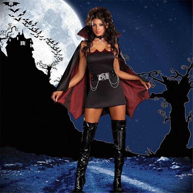 High Quality Hot Sale Bat Vampire Costumes Halloween Masquerade Woman Vampire Costumes Classical Female Vampire Diary Costume