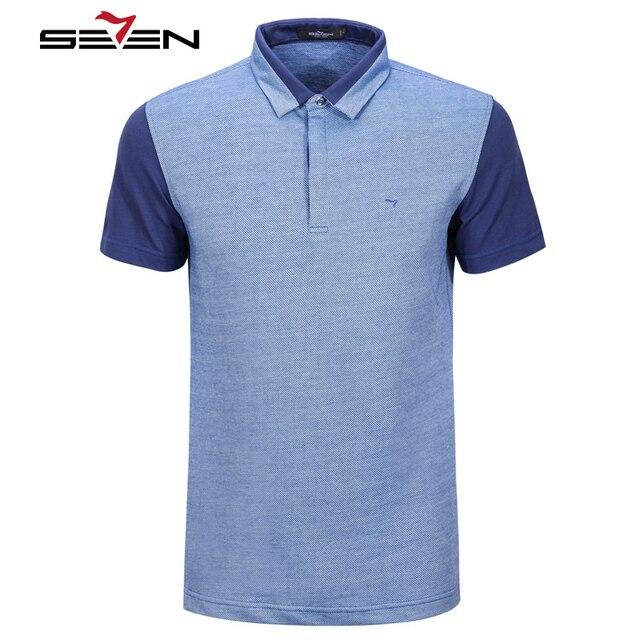 Seven7 Летние Мужчины Polo Рубашки Контрастность Цвета Вскользь Polo Рубашки С Коротким Рукавом Лоскутная Марка Polo Рубашки 110T50640