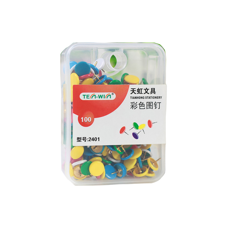 100 Pcs/lot Colored Drawing Push Pins Metal Thumb Tacks Cork Boards Pushpins Map Pin Office School Supplies