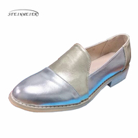Women Genuine Leather Casual Designer Vintage Flat Shoes Round Toe Handmade Gold Silver Oxford Shoes For