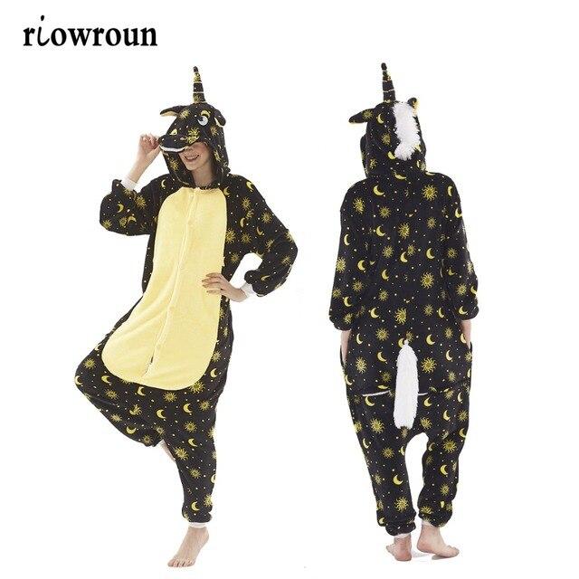 Kigurumi ורוד Unicorn סרבל תינוקות למבוגרים נשים בעלי החיים כוכב Unicornio פיג 'מה פלנל חם רופף רך כתונת לילה סרבל קוספליי Pyjama