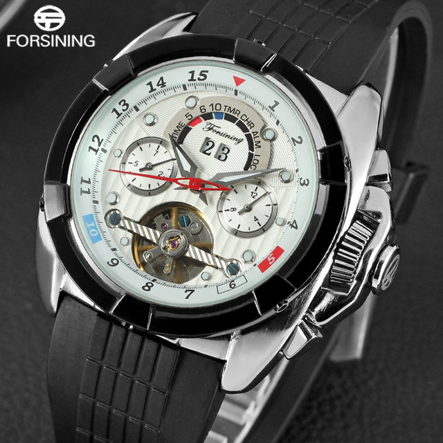 regarder 2b943 dcfb2 € 32.69 40% de réduction FORSINING marque de luxe hommes Sport montre  mécanique hommes Tourbillon montres automatiques bande de caoutchouc Auto  ...