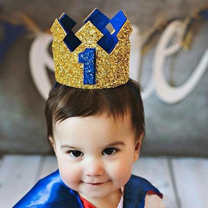 Primer Cumpleaños niño fiesta Glitter oro azul corona cumpleaños número 1st  2rd 3rd negro sombreros de dfa040e76a4