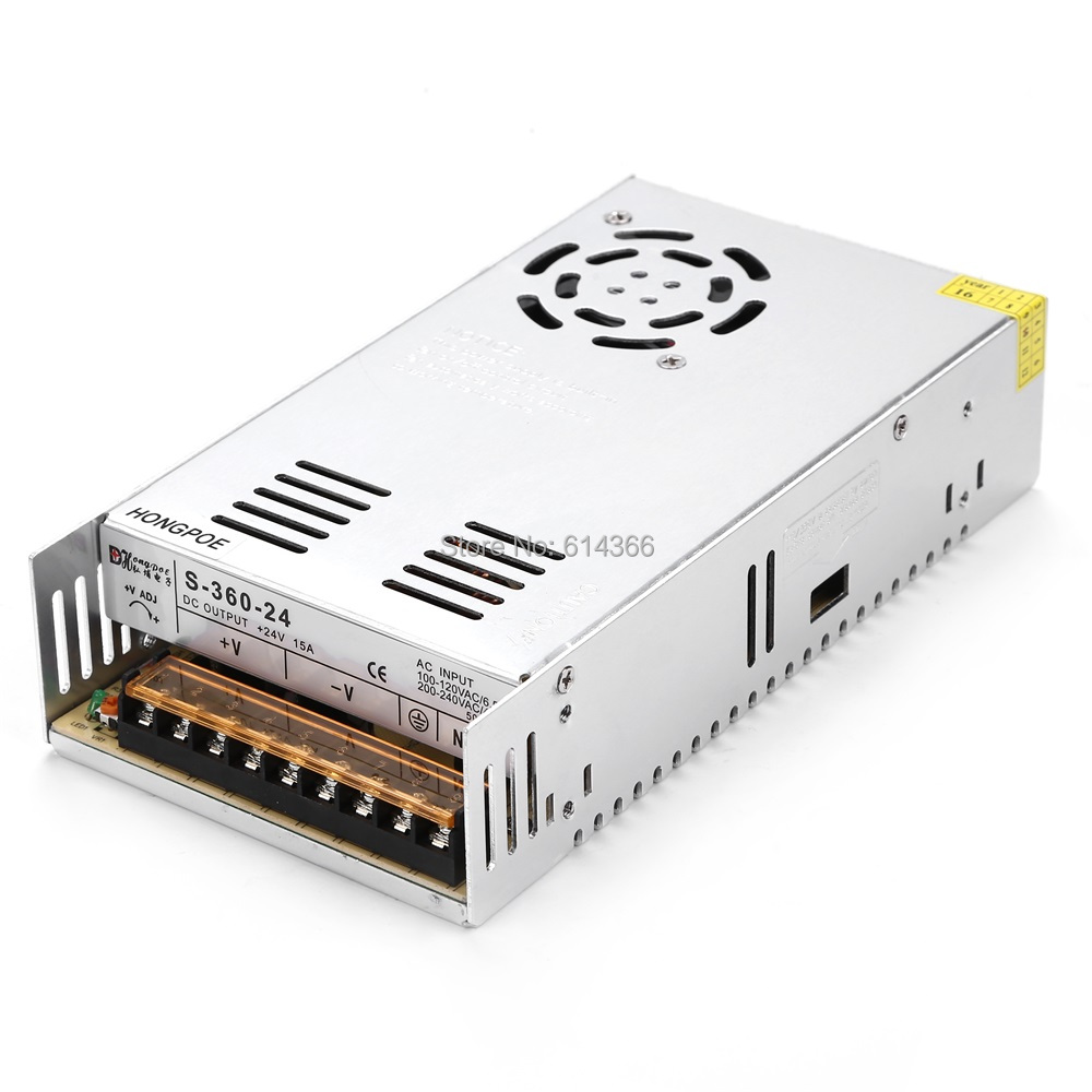 36PCS Best quality 24V 15A 360W Switching Power Supply Driver for LED Strip AC 100-240V Input to DC 24V15A 36pcs best quality 12v 30a 360w switching power supply driver for led strip ac 100 240v input to dc 12v30a