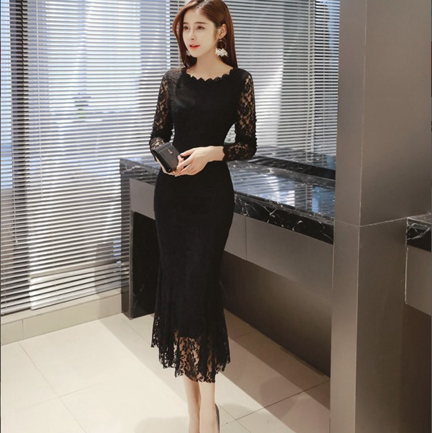 Women Summer Lace Dresses 2020 O-neck Elegant Sexy Mid-Calf Sheath Long Sleeve Formal Party Black Long White Dress Women Clothes 1