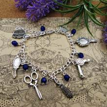 Pulseira banhada à prata do charme cabeleireiro, presente beleza beauticista inspirado pulseira pingente pulseiras