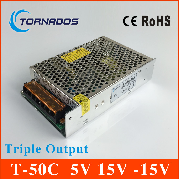 цена на 50W high quality Triple Output power supply 5V 4A 15V 1A -15V 1A ac to dc power supply T-50C CE approved