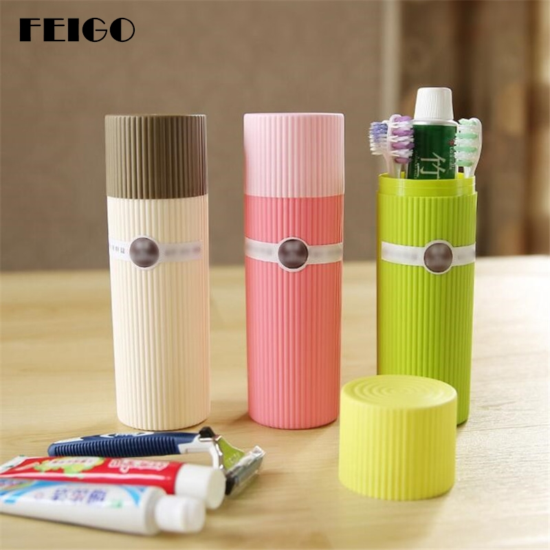 FEIGO 1Pcs Portable ToothBrush Box Student Traveling Storage Toothbrush Cup Toiletries Box Plastic Bathroom Accessories F619