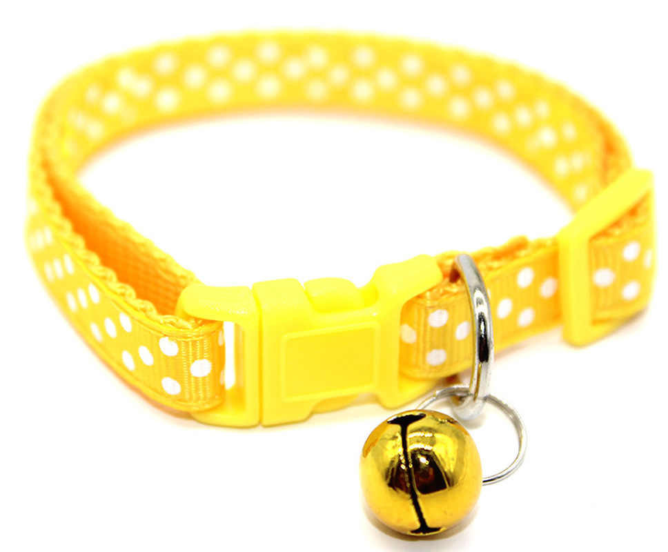 1PC 新調整可能なドットプリントリトル犬の首輪猫子犬ペット用品ベル 4 色