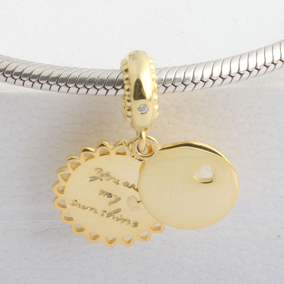 761f76346 Authentic 925 Sterling Silver Golden You Are My Sunshine With Crystal  Pendant Charm Fit Pandora Bracelet Bangle DIY Jewelry-in Beads from Jewelry  ...