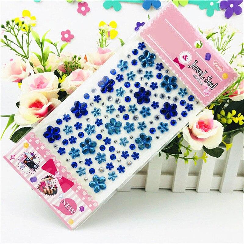 Color Sent Randomly Self Adhesive Glitter Flower Crystal Gems Jewel Diamond  Sticker Rhinestone Strip Scrapbooking Decal-in Stickers from Toys   Hobbies  on ... 7b24c42cb275