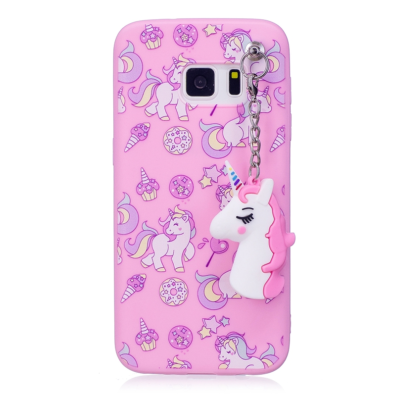 the latest 54ef9 dd51e Cute 3D Toy Unicorn Phone Etui Cases For Coque Samsung Galaxy S7 Edge Case  Soft Silicon Case Back Cover For Samsung S7 Edge Case