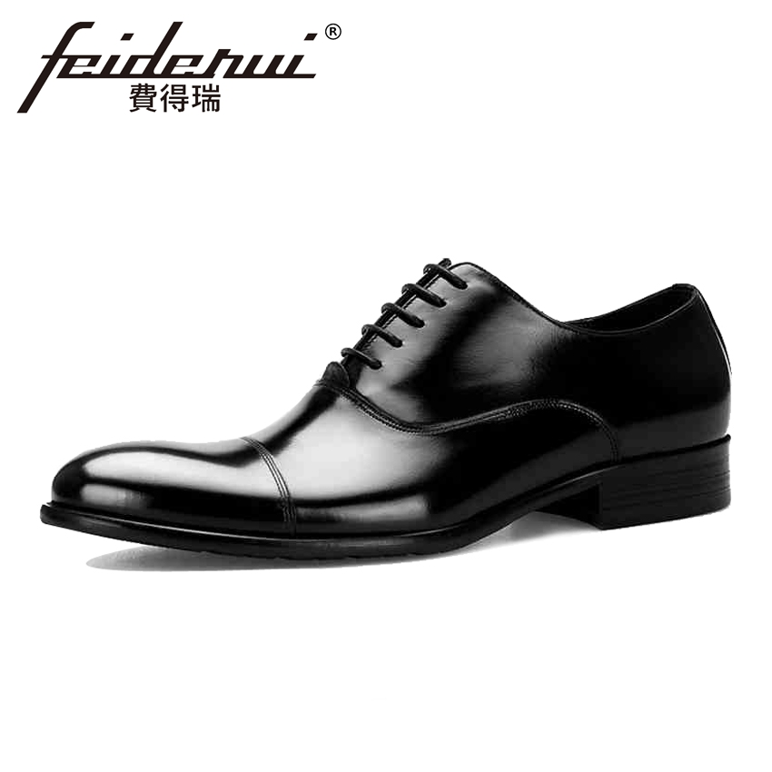 2018 Fashion Genuine Leather Men's Wedding Oxfords Formal Dress Round Toe Lace-up Man Party Flats Designer Male Prom Shoes BQL67 good quality men genuine leather shoes lace up men s oxfords flats wedding black brown formal shoes