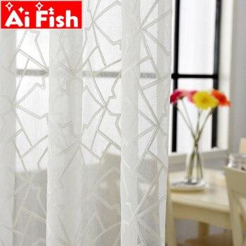 Белый вышитый геометрический вуаль Шторы для Гостиная в Тюлевая занавеска для спальни Тюль окна Шторы s ткань шторы MY094-40