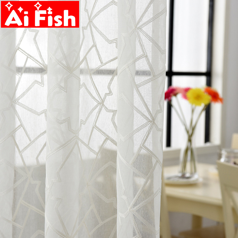 White Embroidered Geometric Voile Curtain For Living Room The