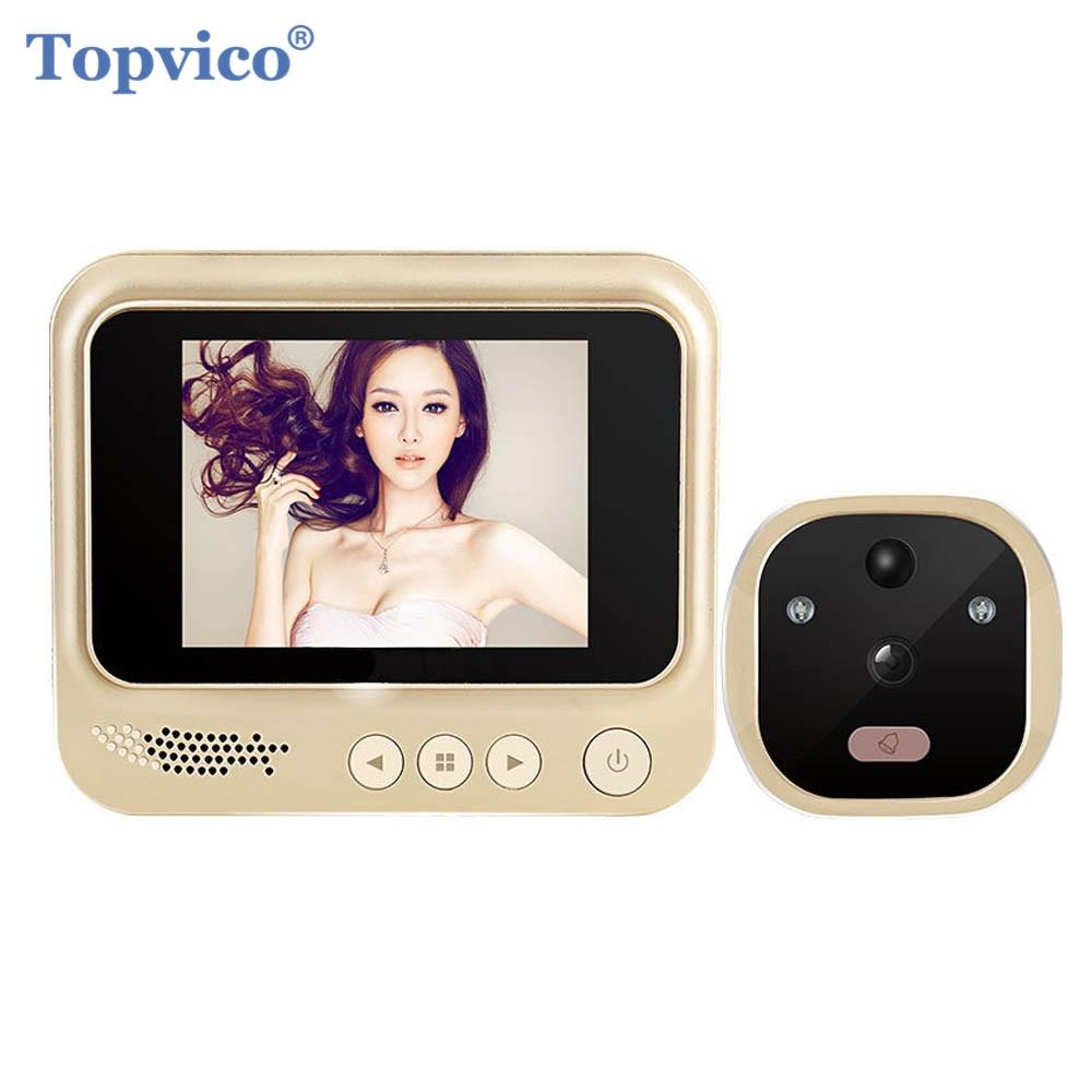 Topvico Vidéo Porte Viewer Détection de Mouvement Électronique Judas Anneau Sonnette Caméra Vidéo-eye Sécurité Auto Photo Li-Batterie