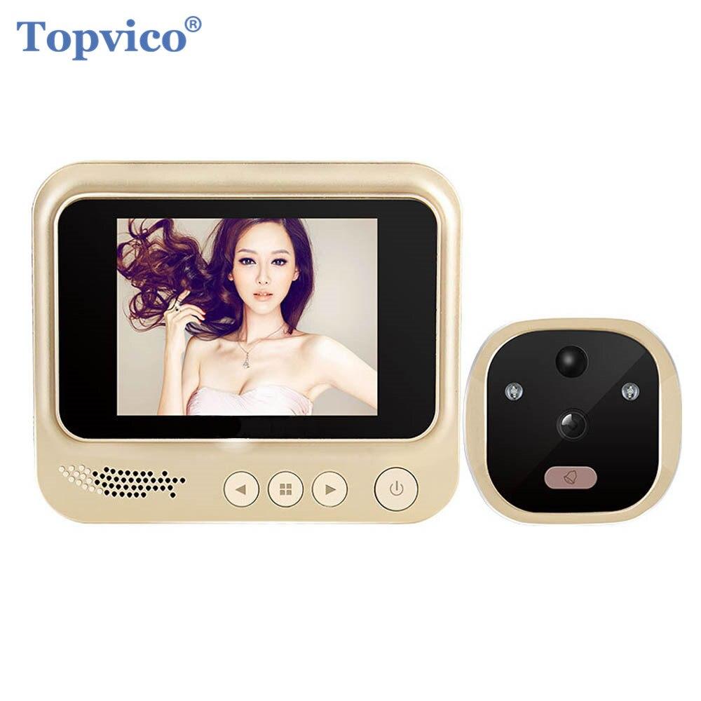 Topvico Video Tür Viewer Bewegungserkennung Elektronische Guckloch Ring Türklingel Kamera Video-auge Sicherheit Auto Foto Li-Batterie
